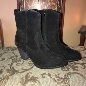 New in Box Black Suede Like Short Boots